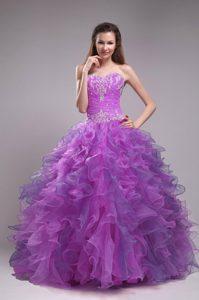 2013 Wonderful Sweetheart Lace-up Organza Sweet Sixteen Dresses in Purple