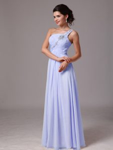 2013 Popular Ruched and Beaded One Shoulder Lilac Dress for Prom Queen