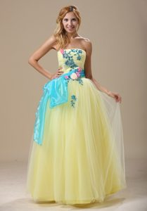 Special Long Tulle Prom Party Dress in Light Yellow and Blue with Appliques