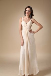 Wonderful Champagne Long Prom Pageant Dress with Ruches