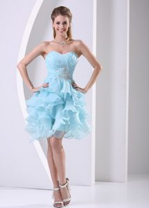 Aqua Blue Ruffled Zipper-up Organza Romantic Dresses for Prom under 150