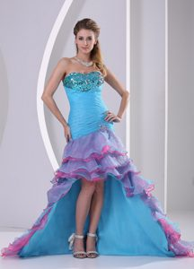 Best Seller Multi-color High-low Mermaid Prom Court Dresses with Beading