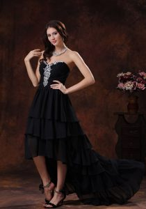 Modern Sweetheart Black High-low Prom Evening Dresses with Lace-up Back