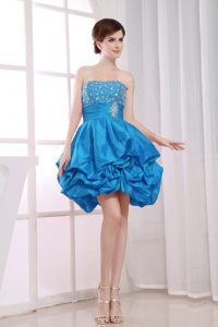 Strapless Romantic Beaded Short Dresses for Prom Princess with Pick-ups