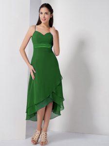 Beautiful Dark Green High-low Zipper-up Chiffon Prom Formal Dress for Fall