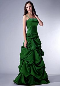 Dark Green Spaghetti Beaded Classical Prom Pageant Dresses with Pick-ups