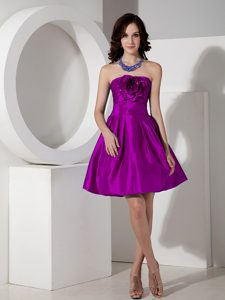 Modest Purple A-line Strapless Prom Dresses for Slim Girls with Flowers