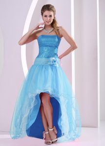 High-low Aqua Blue Prom Dress for Girl with Handle Flower and Sequins