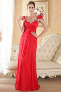 Cap Sleeves Scoop Prom Outfits with Beading and Ruche in Red