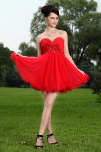 Discount Red Princess Sweetheart Prom Dresses in Organza with Beading