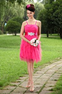 Hot Pink Straps Prom Dress for Tall Girls and Chiffon with Sashes
