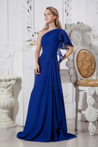 Cheap Royal Blue A-line One Shoulder Prom Dresses for Girls