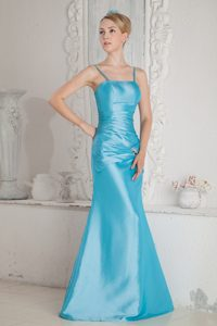 Aqua Blue Straps Beaded and Ruched Formal Prom Dress on Sale