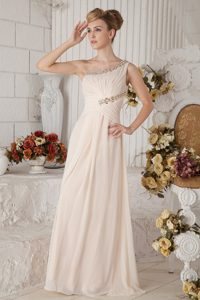 Champagne One Shoulder Prom Dress with Beading and Ruche