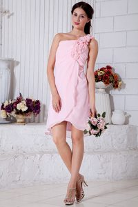 Pink One Shoulder Short Prom Dress