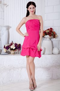 Hot Pink A-line Strapless Prom Dress for Petite Girl in with Ruche