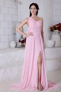 Rose Pink One Shoulder Prom Dresses for Slim Girls with Watteau Train