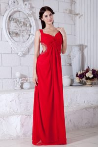 Affordable Red Beaded and Ruched Prom Dress for Tall Girls
