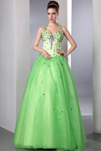 Beaded Spring Green Halter Prom Dresses for Girls and Organza