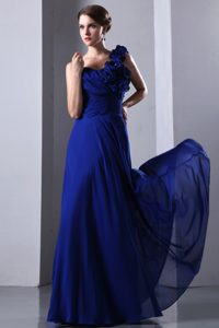 Royal Blue Chiffon One Shoulder Senior Prom Dress with Handle Flowers