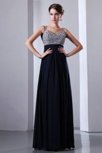 Dark Navy Blue Straps Chiffon Formal Prom Dress with Colorful Beading