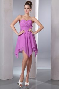 Lavender Asymmetrical Sweetheart Semi-formal Prom Dresses with Bow