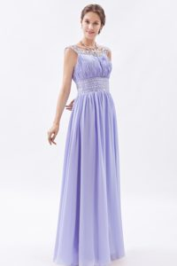 Sheath Scoop Prom Dress for Short Girls with Beading and Ruche in Lilac