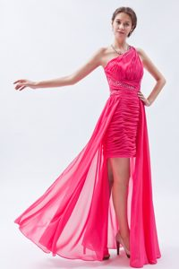 Hot Pink One Shoulder High-low Semi-formal Prom Dresses with Sequins