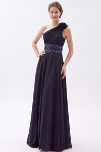 Empire One Shoulder Prom Gown Dresses with Beading in Black