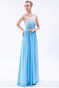Baby Blue Empire Sweetheart Beaded Prom Dress for Petite Girl