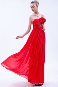 Beaded Red One Shoulder Chiffon Prom Dress for Tall Girls with Flowers