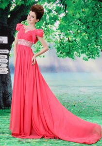 V-neck 2013 Dress for Prom with Beading and Ruche in Coral Red on Sale