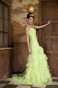 Yellow Green Mermaid Brush Train Organza Prom Dress with Hand Flower and Ruffles