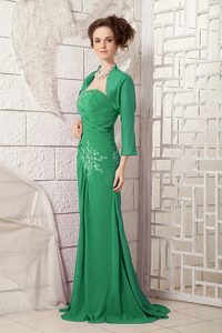 2013 Dark Green One Shoulder Chiffon Prom Celebrity Dresses with Appliques