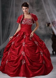 Wine Red Beading and Appliques Strapless Pick-ups Quinceanera Ball Gown