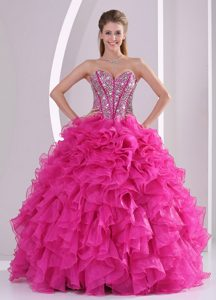 2014 Sweetheart Beading and Ruffles Fuchsia Sweet 15 Quinceanera Dress