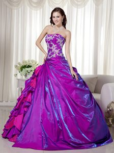Purple Strapless A-line Quinceanera Gown with Embroidery and Ruffles