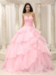 Layers Beading Hand Made Flower Baby Pink Quinceanera Gowns Dresses