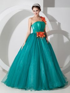 Handmade Flower Teal Organza Quinceanera Dress of 15 with One Shoulder