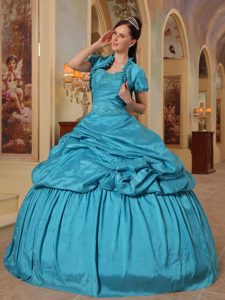 Puffy Sweetheart Beading Appliques Teal Quinceanera Dress Gowns