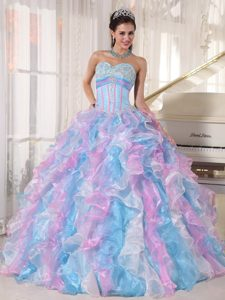 Colorful Ruffled Appliques Organza Lace Up Back Dresses for Quinceaneras