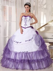 Fabulous White and Purple Sweetheart Embroidery Layered Dresses for 15