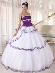 Beading Strapless Layers White and Purple Organza Dresses for A Quince