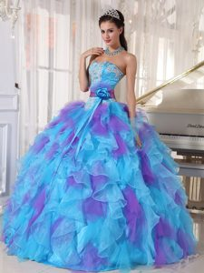 Multi-color Ruffled Strapless Appliques Handmade Flowers Quinces Dresses