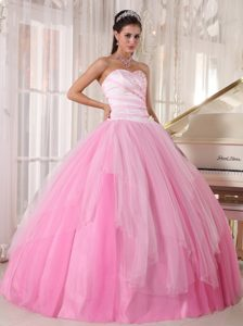 Lovely Sweetheart Beads Pink Tulle Lace Up Back Dress for A Quinceanera
