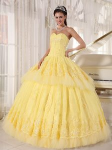 Applique Bead Sweetheart Layers Yellow Sweet Sixteen Quinceanera Dress