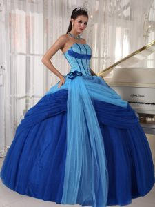 Two-tone Beading Handmade Flowers Ball Gown Tulle Quinceaneras Dress