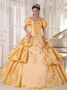 Bubble Off The Shoulder Embroidery Gold Puffy Quinceanera Dress