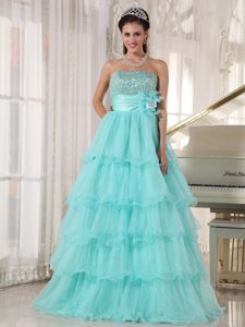Layers Strapless Beading Ruffled Apple Green Sweet 15 Dress with Flowers