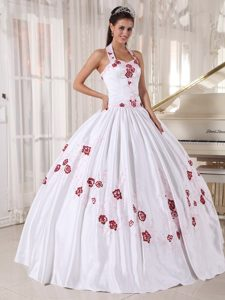Halter Top Backless Nice Floral Embroidery White Quince Dresses